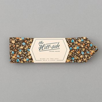 Lightweight All-Over Floral Print Bow Tie, Brown