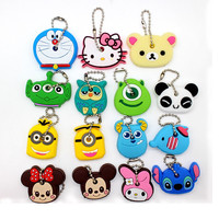 Cartoon Anime Cute Minion Owl Key Cover TO.US Bear Mickey Cap Keychain Silicone Hello Kitty Chain Holder porte clef Women Ring