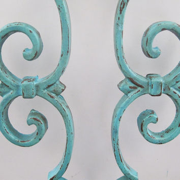 Robin's Egg Blue Wrought Iron Gate Pieces Repurposed Wall Decor