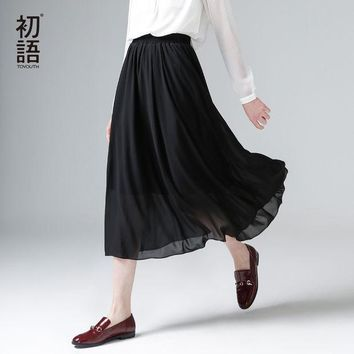 Toyouth 2017 New Arrival Spring Summer Elastic Waist Solid A Line Chiffon Ankle Length Peppy Women Skirts