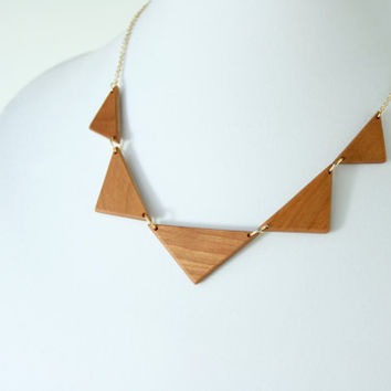 Large Wooden Triangle Necklace with Wide Cherry Triangles - MADE TO ORDER