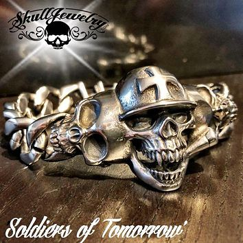 'Soldiers of Tomorrow' 3 Skull Steel Bracelet (932)