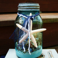 Natural Beach Terrarium in an Antique Blue Mason Jar, Summer Decor