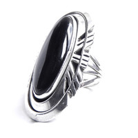Huge Sterling Silver Onyx Ring - Vintage Size 7.5 Chunky Native American Jewelry / Black Statement