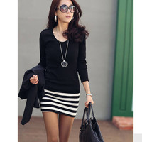 Black Stripe Long-Sleeve Dress