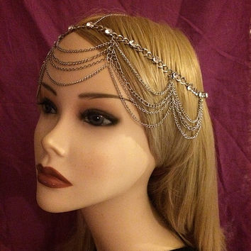 Silver Vintage Art Deco Goddess 1920's style Headchain Grecian 1920s head chain headpiece piece 20's headband band Crystal Rhinestone Drapes