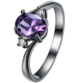XAHH Women Black Gold Purple Amethyst Oval CZ 3 Stone Best Promise Ring Anniversary Wedding Band for Her