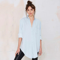 Long Sleeve Shirt Collar Single Pocket Blouse