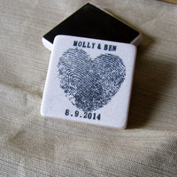 Heart Thumbprint Save the Date Magnets, Wedding Favors, Black, Set of 25