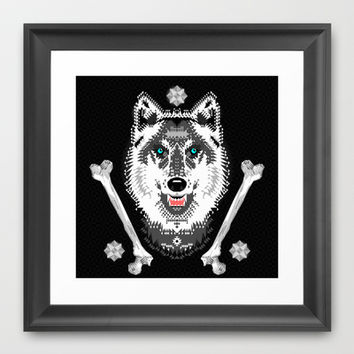Silver Wolf Geometric Framed Art Print by chobopop