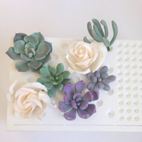 Sugar Flowers Assorted Succulents and Roses Edible Cake Topper