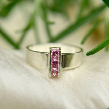 Pink Tourmaline Ring, Sterling Silver and 3 Stone Tourmaline Ring, Statement Ring in Silver, October Birthstone Ring