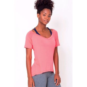 Peach Raglan V-neck Tee