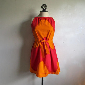 60s KARELIA Wave Dress Marimekko Cotton Red Orange Seireeni Wave Print 1960s Trapeze Gogo Mini Summer Dress Small Made in Finland