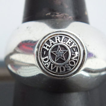 Silver Harley Davidson Solid Band With Star Ring, Stamped Sterling, Size 10 1/4, Vintage Precious Metal Jewelry, Free Shipping and Gift Box