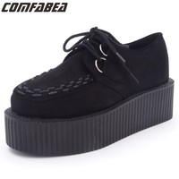 2017 Women Platform Shoes Ladies Lace Up Casual Shoes Flats Creepers Flat Shoes Women