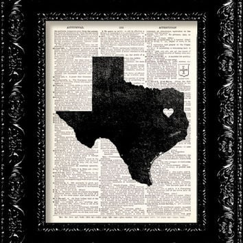 I Heart Texas  State Map  Map Art Print by TheRekindledPage