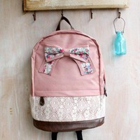 ashion Lace with Red Floral Bow Backpack-pink