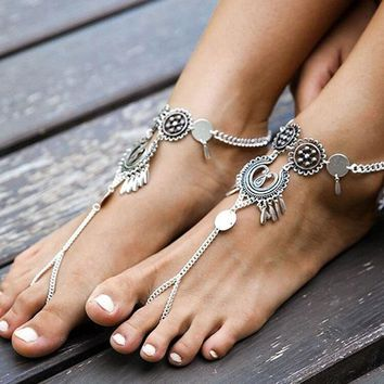 1pc Bohemian Indian Antique Silver Plated Hollow Flower Chain Anklets Beach Barefoot Sandals Foot Jewelry Boho Chic Anklets