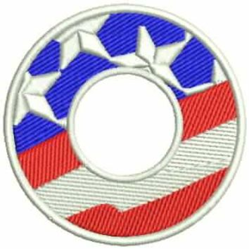 O Alphabet Letters of US Flag Iron on Small Patch for Biker Vest