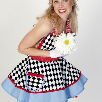 Wonderland Alice Hearts and Harlequin Womens Apron by dotsdiner