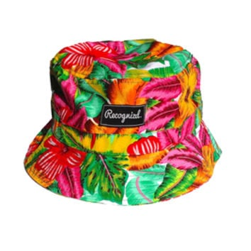 Recognizd — Hawaiian Floral Bucket Hat (Orange/Pink)