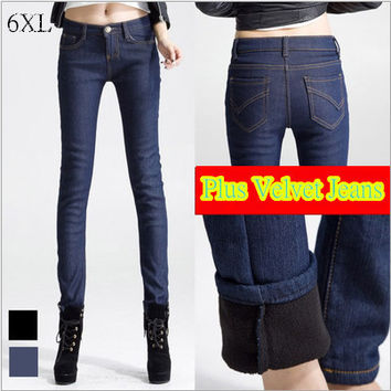 2014 New Korean Version thick velvet trousers  female feet was thin Plus size jeans