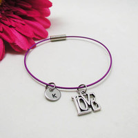 Love Bracelet - Love Charm Bangle - Initial Charm - Inspirational Jewelry - Initial Bracelet - Custom Bracelet - Friendship Bracelet