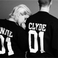 Men and women couple letters sweater CLYDE01 BONNIE 01