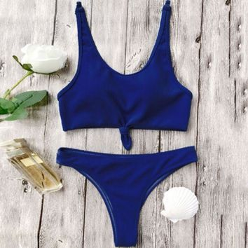 ac NOVQ2A Fashion hot sell chest knot pure color swimsuit sexy two-piece suit bikini