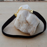 Black Velvet Choker - Simple & Trendy Velvet Choker with Choice of Silver Plated or Gold Plated Clasp and Extension Chain
