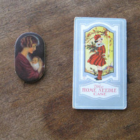 Antique Home Needle Case; Fashionable Girl w/ Holly Graphic + Floral Sewing Basket Needles w/ Advertising Sleeve + Mother-Child Pinholder