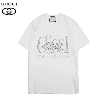 GUCCI Fashion New Summer Diamond Letter Tiger Women Men Top T-Shirt White