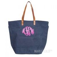 Monogrammed Large Jute Bag | Marley Lilly