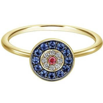 "Gabriel Sapphire, Diamond and Ruby ""Evil Eye"" Ring"