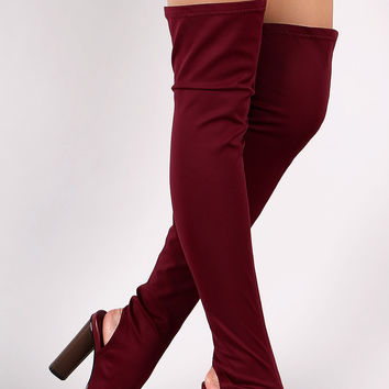 Fitted Elastane Peep Toe Over-The-Knee Chunky Heel Boots