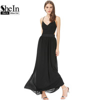 2014 Latest Designs Summer Elegance Women's Brand Fashion Sexy Black Spaghetti Strap Backless Classy  Maxi Dress
