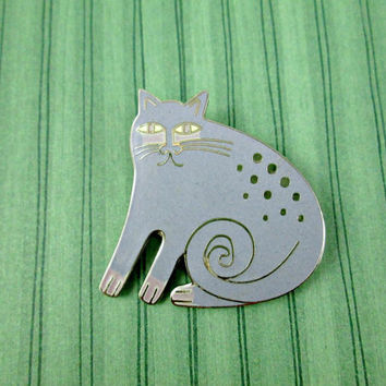 Vintage Laurel Burch Cat Pin Brooch and Necklace Pendant Lavender on Silver Tone Metal Kershire Cat Lover Feline Friend Very Nice Condition