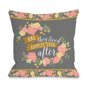 Happily Ever After - Multi Throw Pillow by Pen & Paint