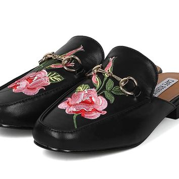 Rose Embroidered Horsebit Slip On Mule Women's Loafers