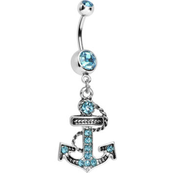 Aqua Cubic Zirconia Paved Roped Anchor Dangle Belly Ring | Body Candy Body Jewelry