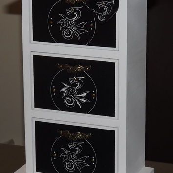 Shabby Chic 3 Drawer cabinet. DRAGON design. Uniquely hand decorated GiFT Set. FREE matching pendant. Can be PERSONALISED.