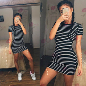 r Beach Holiday Stripes Printed Round Necked Short Sleeve Casual Party Playsuit Clubwear Bodycon Boho Dress