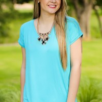 KLR Perfect Piko V-Neck - Scuba Blue | Tops | Kiki LaRue Boutique