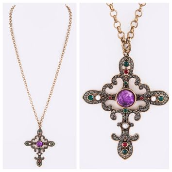 Simply Unique, Bejeweled Ornate Cross Necklace