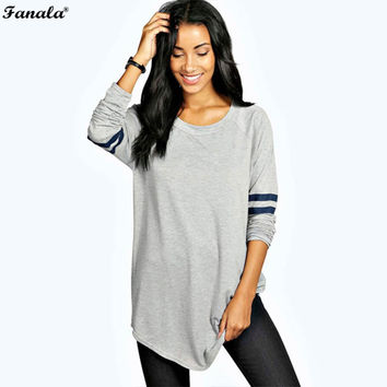 FANALA T-Shirts Female cotton long t shirt women autumn Striped t-shirt women casual baseball o-neck top tees long sleeve femme