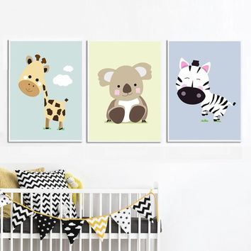 COLORFULBOY Giraffe Zebra Koala Animal Paintings Wall Art Print Posters And Prints Wall Pictures Nordic Style Kids Decoration