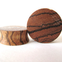 Custom Made Zebra Wood Plugs Size 8g to 2 inches
