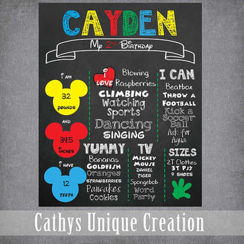 Mickey Birthday Poster, Birthday Facts, Mickey Mouse, Chalkboard Birthday Sign, Disney, 1st, 2nd, 3rd, Printable, Download, Decoration, Info