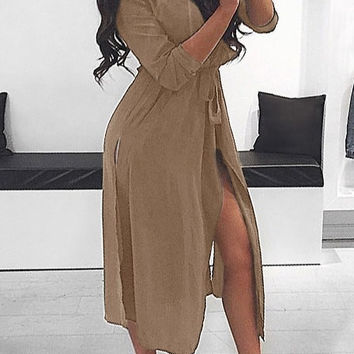 Tan Belted Drape-Front Coat
